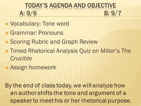 Vocabulary: Tone word Grammar: Pronouns Scoring Rubric and Graph Review Timed Rhetorical Analysis Quiz on Millers The Crucible Assign homework By the end.