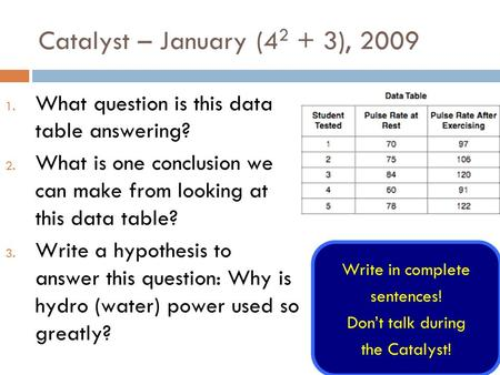 Catalyst – January (4 2 + 3), 2009 1. What question is this data table answering? 2. What is one conclusion we can make from looking at this data table?