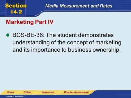 Marketing Part IV BCS-BE-36: The student demonstrates understanding of the concept of marketing and its importance to business ownership.