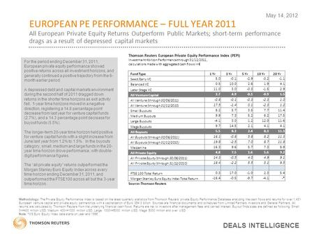 EUROPEAN PE PERFORMANCE – FULL YEAR 2011 All European Private Equity Returns Outperform Public Markets; short-term performance drags as a result of depressed.