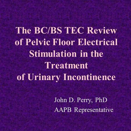 The BC/BS TEC Review of Pelvic Floor Electrical Stimulation in the Treatment of Urinary Incontinence John D. Perry, PhD AAPB Representative.