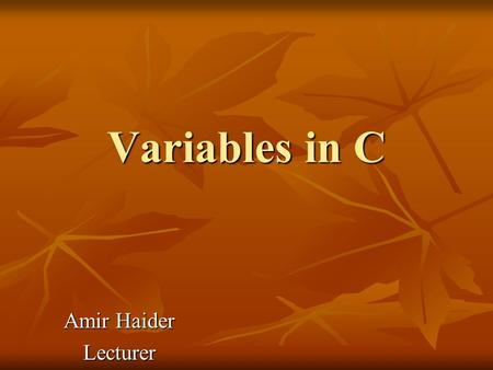 Variables in C Amir Haider Lecturer.