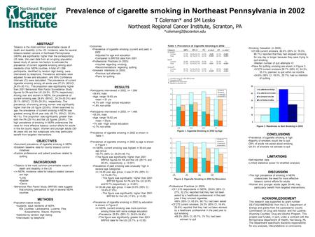 Prevalence of cigarette smoking in Northeast Pennsylvania in 2002 T Coleman* and SM Lesko Northeast Regional Cancer Institute, Scranton, PA