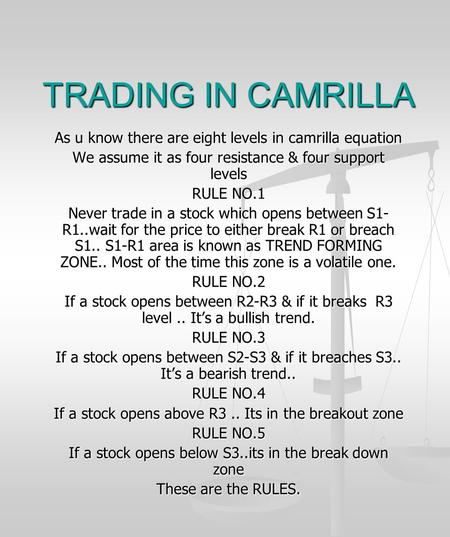 TRADING IN CAMRILLA As u know there are eight levels in camrilla equation We assume it as four resistance & four support levels RULE NO.1 Never trade in.