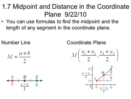 1.7 Midpoint and Distance in the Coordinate Plane 9/22/10