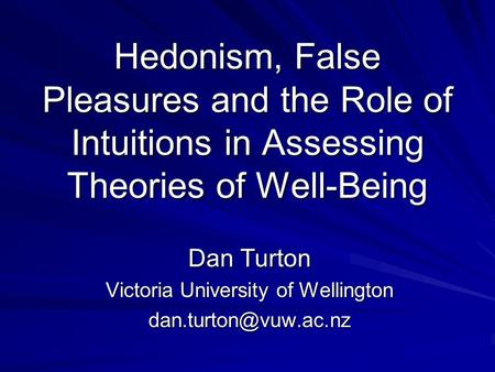 Dan Turton Victoria University of Wellington