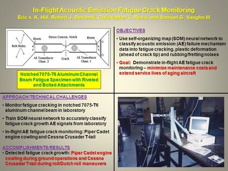 In-Flight Acoustic Emission Fatigue Crack Monitoring Eric v. K. Hill, Robert J. Demeski, Christopher L. Rovik and Samuel G. Vaughn III APPROACH/TECHNICAL.