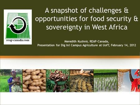 Linking A snapshot of challenges & opportunities for food security & sovereignty in West Africa Meredith Kushnir, REAP-Canada, Presentation for Dig In!