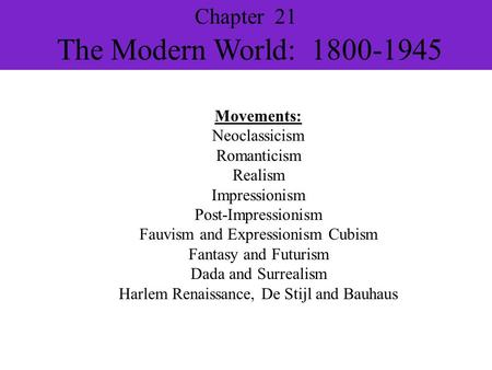 Chapter 21 The Modern World:
