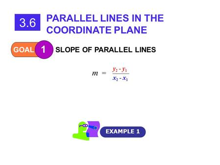 3.6 PARALLEL LINES IN THE COORDINATE PLANE 1 m = GOAL