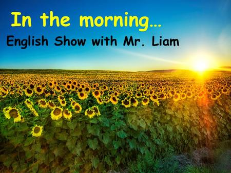 In the morning… English Show with Mr. Liam. Monday Tuesday Wednesday Thursday Friday Tuesday 12 th November.