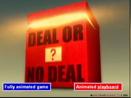 Fully animated gameAnimated playboard ¢1¢1 1¢1¢ 1 $1 22 $10 4 $25 6 $50 9 $75 16 $100 12 $300 14 $400 21 $500 18 $750 11 $1,000 3 $5,000 2 $10,000 7.