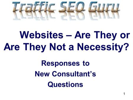 1 Websites – Are They or Are They Not a Necessity? Responses to New Consultants Questions.