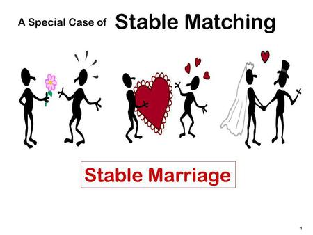 1 Stable Matching A Special Case of Stable Marriage.