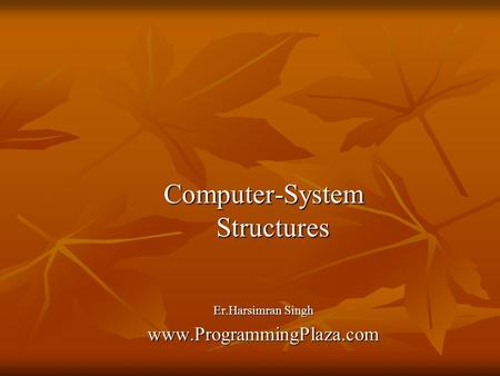 Computer-System Structures Er.Harsimran Singh www.ProgrammingPlaza.com.