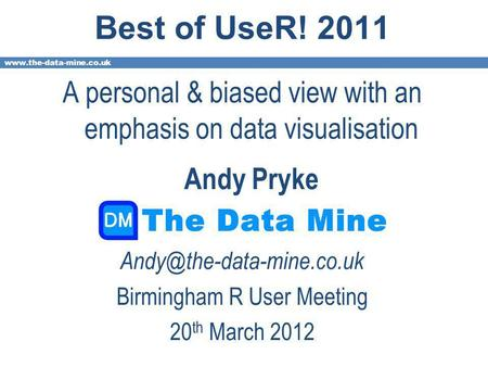 Best of UseR! 2011 A personal & biased view with an emphasis on data visualisation Andy Pryke Birmingham.