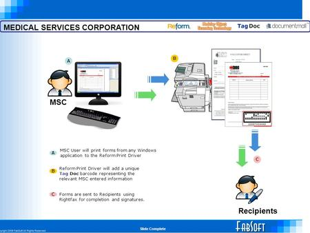 MEDICAL SERVICES CORPORATION Recipients MSC MSC User will print forms from any Windows application to the Reform Print Driver A A B B Reform Print Driver.
