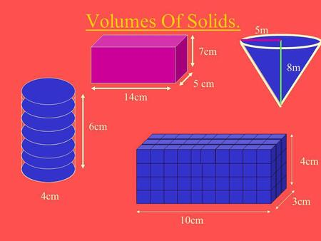 Volumes Of Solids. 8m 5m 7cm 5 cm 14cm 6cm 4cm 4cm 3cm 10cm.