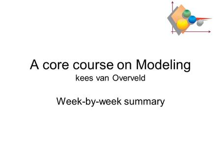 A core course on Modeling kees van Overveld Week-by-week summary.