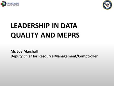 LEADERSHIP IN DATA QUALITY AND MEPRS Mr. Joe Marshall Deputy Chief for Resource Management/Comptroller.