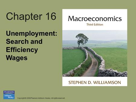 Copyright © 2008 Pearson Addison-Wesley. All rights reserved. Chapter 16 Unemployment: Search and Efficiency Wages.
