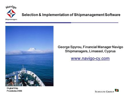 George Spyrou, Financial Manager Navigo Shipmanagers, Limassol, Cyprus