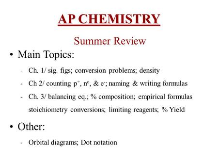AP CHEMISTRY Summer Review Main Topics: Other: