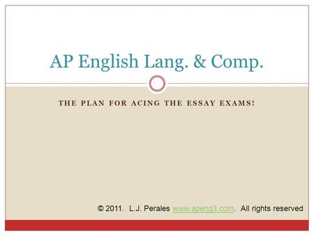THE PLAN FOR ACING THE ESSAY EXAMS! AP English Lang. & Comp. © 2011. L.J. Perales www.apeng3.com. All rights reservedwww.apeng3.com.