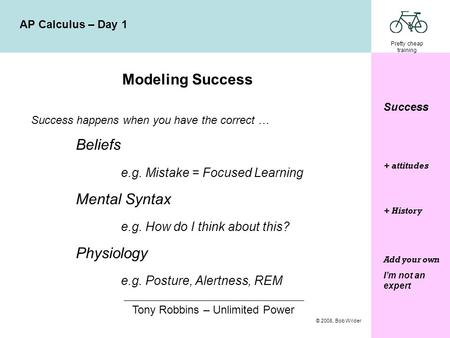 Pretty cheap training © 2008, Bob Wilder AP Calculus – Day 1 Success Modeling Success Success happens when you have the correct … Beliefs e.g. Mistake.