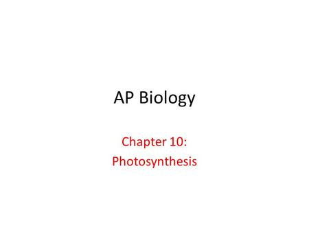 Chapter 10: <strong>Photosynthesis</strong>