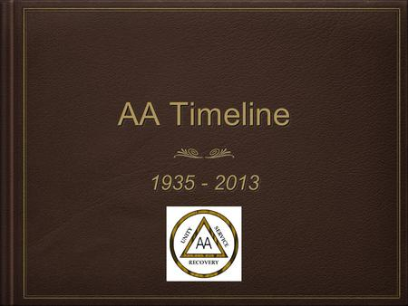 AA Timeline 1935 - 2013. 19351935 Alcoholic and doctor shared similar views of alcoholism and ways to reach sobriety. Bill W is inspired by Dr. Samuel.