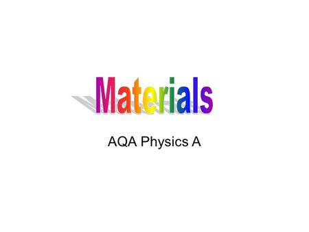 Materials AQA Physics A.
