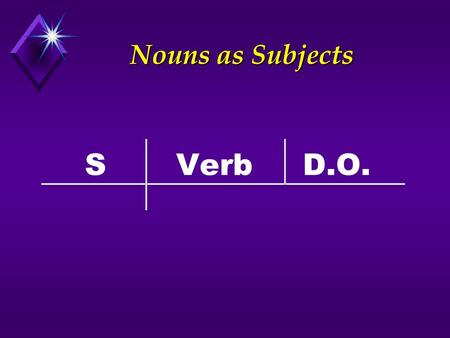 Nouns as Subjects S Verb D.O..