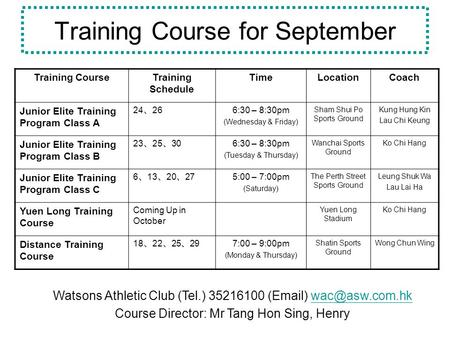Training Course for September Training CourseTraining Schedule TimeLocationCoach Junior Elite Training Program Class A 24 26 6:30 – 8:30pm (Wednesday &