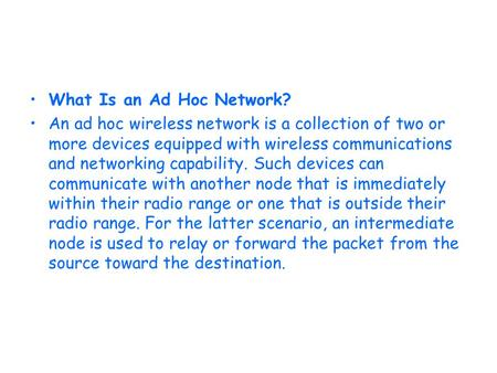What Is an Ad Hoc Network?