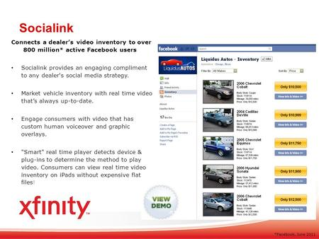 Connects a dealers video inventory to over 800 million* active Facebook users Socialink provides an engaging compliment to any dealer's social media strategy.