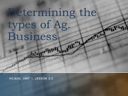 Determining the types of Ag. Business AG.BUS, UNIT 1, LESSON 2-2.