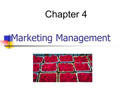 Chapter 4 Marketing Management.