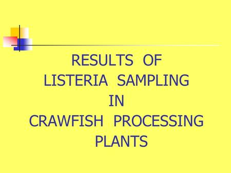 RESULTS OF LISTERIA SAMPLING IN CRAWFISH PROCESSING PLANTS.