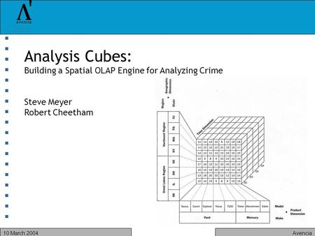Avencia10 March 2004 Analysis Cubes: Building a Spatial OLAP Engine for Analyzing Crime Steve Meyer Robert Cheetham.