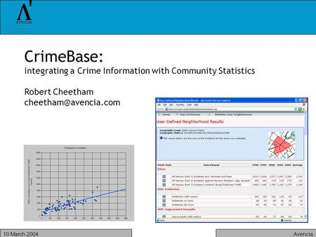 Avencia10 March 2004 CrimeBase: Integrating a Crime Information with Community Statistics Robert Cheetham
