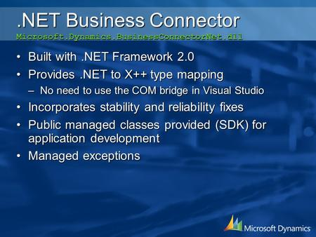 .NET Business Connector Microsoft.Dynamics.BusinessConnectorNet.dll