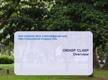 OWASP CLASP Overview.