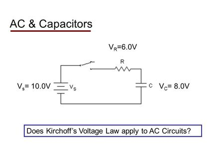 AC & Capacitors Does Kirchoffs Voltage Law apply to AC Circuits? V R =6.0V V C = 8.0VV s = 10.0V.