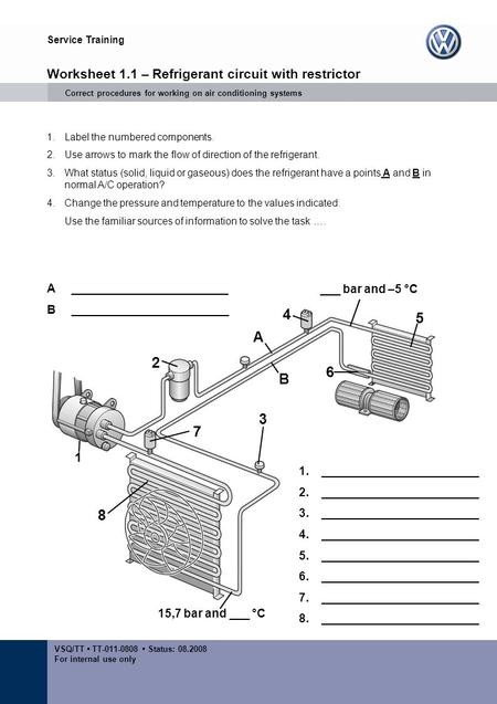 Service Training VSQ/TT TT-011-0808 Status: 08.2008 For internal use only 1 2 3 4 5 6 7 8 A B Worksheet 1.1 – Refrigerant circuit with restrictor Correct.