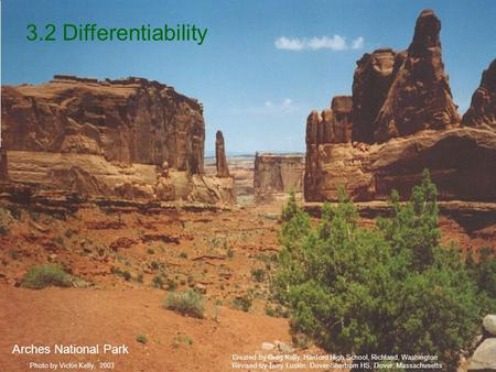 3.2 Differentiability Photo by Vickie Kelly, 2003 Arches National Park Created by Greg Kelly, Hanford High School, Richland, Washington Revised by Terry.