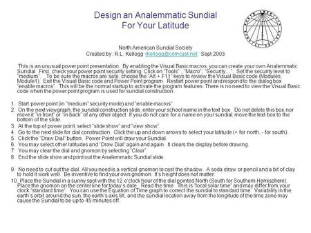 Design an Analemmatic Sundial For Your Latitude