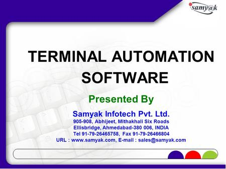 Company Profile Samyak Infotech Pvt  Ltd  Presented By - ppt download