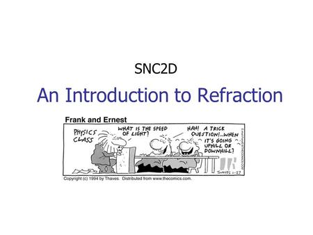An Introduction to Refraction SNC2D. Index of Refraction Light will travel more slowly in more dense materials. The ratio of the speed of light in a vacuum.