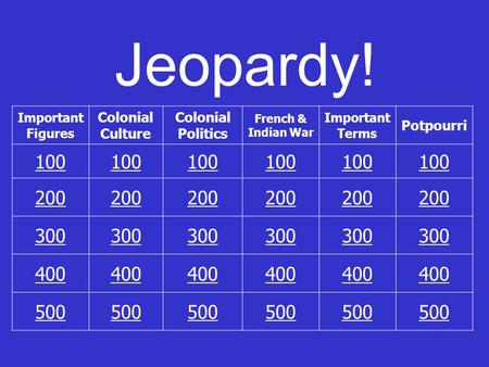 Jeopardy! Important Figures Colonial Culture Colonial Politics French & Indian War Important Terms Potpourri 100 200 300 400 500.